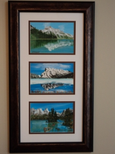 Emerald Lake, Mt. Rundle, Maligne Lake, Acrylic, 6.5 x 4.5 $225