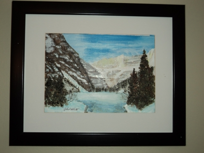 Lake Louise in Winter, Acrylic, 7x5 inches, $50