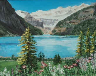 Lake Louise in Summer, Acrylic, 9.5x7.5 inches $250