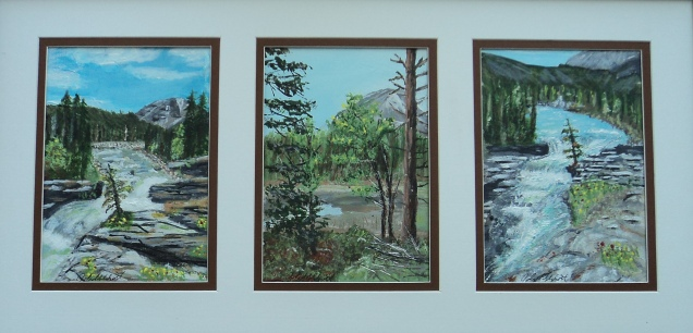 Sheep River Falls & Whiskey Lake, Acrylic, 10x20, $250