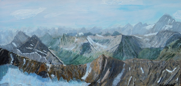 Rocky Mountain Glacier Acrylic 24 X 12 inches $950