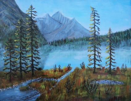 Emerald Lake 2, Acrylic, 22x28, $1500