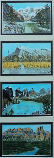 Quad Louise,Rundle Moraine,Castle Mt, Acrylic, each 4x6 $$300