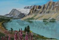 Bow Lake, Acrylic, 4.5x6.5, $90