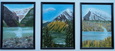 Triple, Louise, Temple, Rundle, Acrylic, 5x7x3, $325