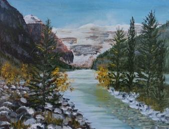 Lake Louise 8, Acrylic, 8x10, $250