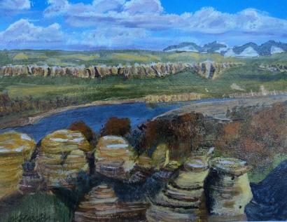 Milk River Valley, Acrylic, 8X10, $250