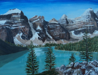 Moraine Lake 5, Acrylic, 8x10, $250