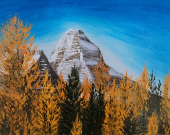 Mt. Assiniboine w Larches, Acrylic, 11x14, $475