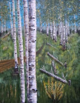 Birches 3, Acrylic, 16x20, $750, #16015