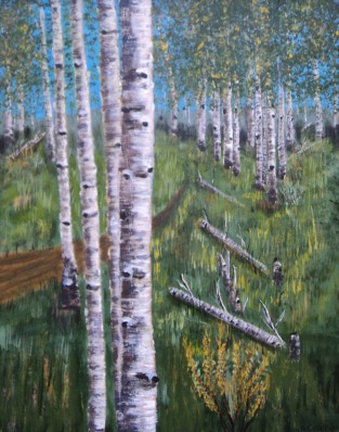 Birches 3, Acrylic, 16x20, $750, #16015