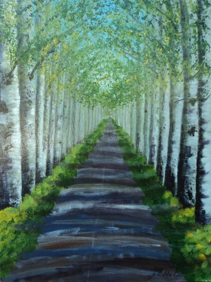 Cathedral in the Trees, Acrylic, 12x16, $495, #16030