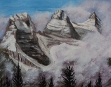 Three Sisters, Canmore, #17011, $250, acrylic, 8x10