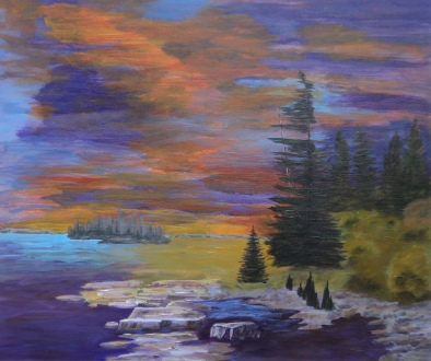 Blazing Sunset, #17021, $1700, Acrylic, 22x26