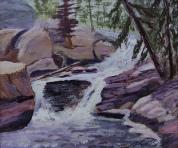 Rock Mountain Rushing Waters, #17042, $135, Acrylic, 6x7
