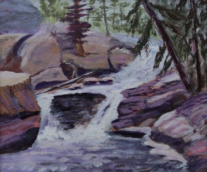 Rock Mountain Rushing Waters, #17042, $135, Acrylic, 6x7