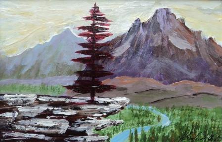 The Scarlet Sentinel, #17032, $125, Acrylic, 5x8