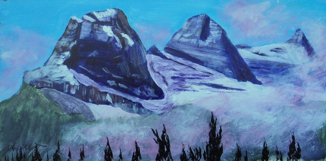 Three Sisters, #17043, $150, Acrylic, 5x10