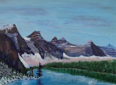Magnificent Moraine 5, 17046, $150, Acrylic, 6x8