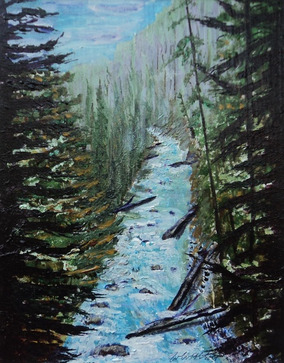 Johnston Canyon, #15025, $250, Acrylic, 8x10
