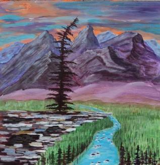 Rocky Mountain Sentinel, #17060, $950, Acrylic, 18x18