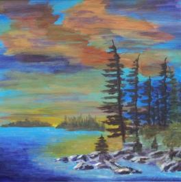 Blazing Sunset, #17065, $425, Acrylic, 12x12