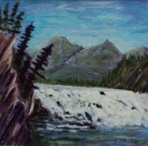 Bow Falls, Banff, #17062, $170, Acrylic, 7.5x7.5