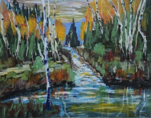 Birches by the River, #17076, $460, Acrylic, 11x14