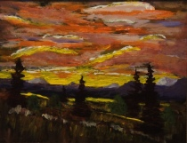 Golden Sunset, #17081, $250, Acrylic, 8x10