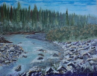 Kananaskis River, #16016, $250, Acrylic, 8x10