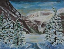 Lake Louise in Winter, #16066, $250, Acrylic, 8x10