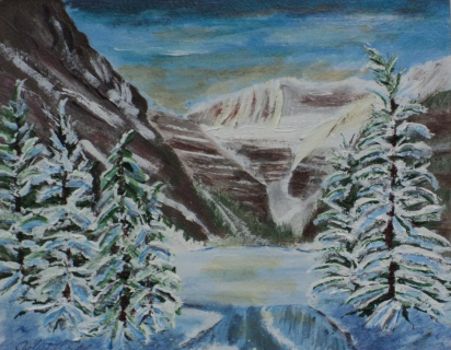 Lake Louise in Winter, #16066, $250, Acrylic, 8x10