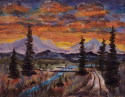Sunset Road, #17086, $250, Acrylic, 8x10