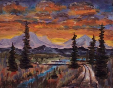Sunset Road, #17086, $250, Acrylic, 8x10