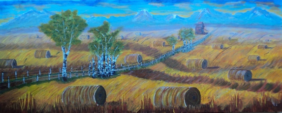 Endless Harvest, #16032, $1750, Acrylic, 16x40
