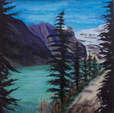 Hike Around Lake Louise, #17063, $170, Acrylic, 7.5x7.5