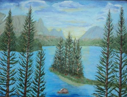 Maligne Lake and Good Spirit Is., #15001, $495, Acrylic, 12x15