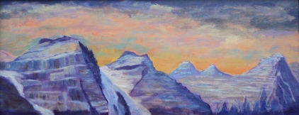Moraine Lake Peaks. #17087, $480, Acrylic, 8x20