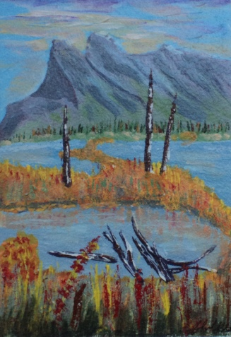 Mount Rundle in the Fall 3, #16069, $120, Acrylic, 4.5x6.5