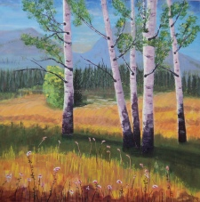 Popular Poplars, #17013, $2995, Acrylic, 36x36