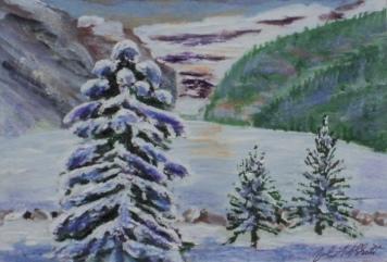 Wintry Louise, #17007, $120, Acrylic, 4x6