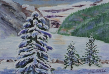 Wintry Louise, #17007, $120, Acrylic, 4x6