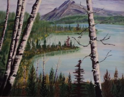 Birches by the Lake, #16031, $750, Acrylic, 16x20