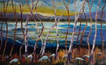 Birches by the Lake, #17089, $995, Acrylic, 15x24