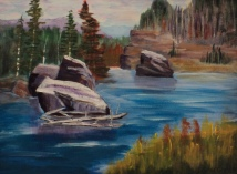 Boulders in the Bow, #17037, $390, Acrylic, 11x13