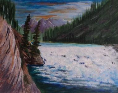Bow Falls, Banff #18005, $250, Acrylic, 8x10