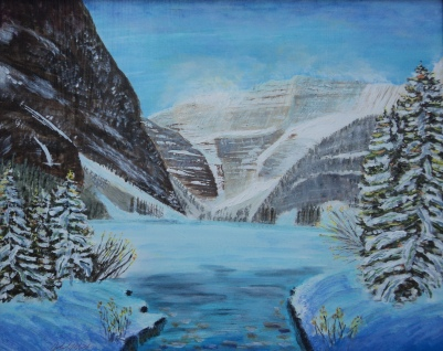 Lake Louise in Winter, #15032, $750, Acrylic, 16x20