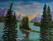 Maligne Lake, #15001, $495, Acrylic, 12x15