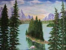 Maligne Lake, #15024, $460, Acrylic, 11x14