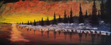 Sunset Rouge, #17085, $1500, Acrylic, 15x35
